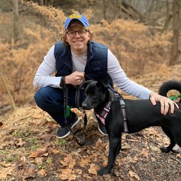 Brett Morgan with his dog, Kaya, in Frick Park (January 2020)